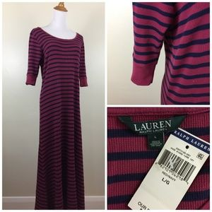 NWT RALPH LAUREN Striped Ribbed Dress